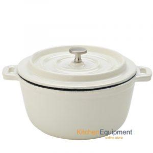 white iron cast pot