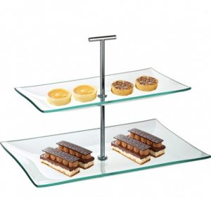 glass plate 2 tier cake stand