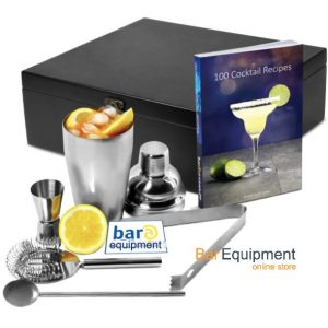 cocktail shaker set with book